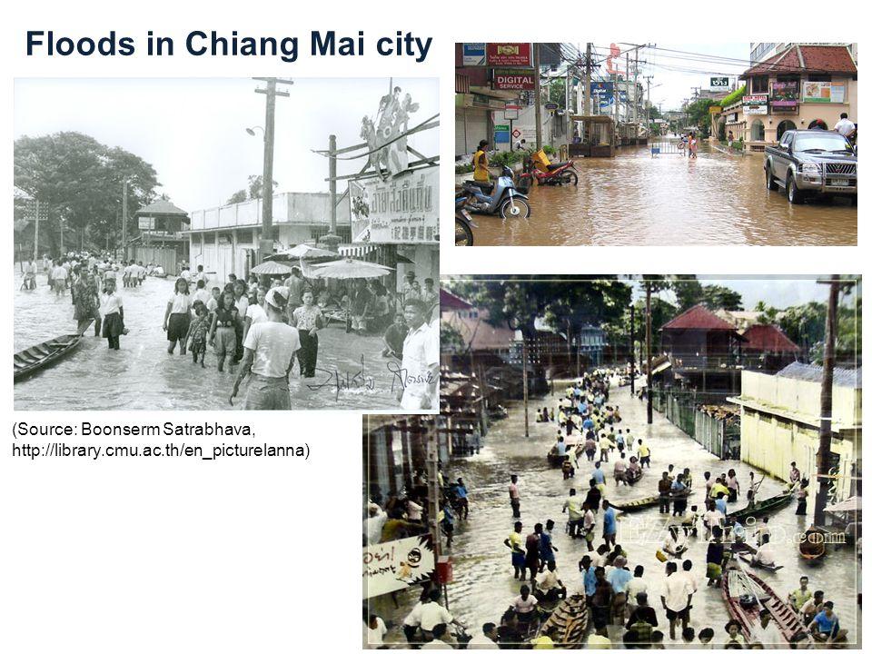 Floods in Chiang Mai city (Source: Boonserm Satrabhava, http://library.cmu.ac.th/en_picturelanna)