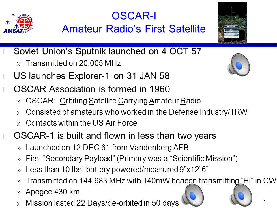 63 Microsats l University of Surrey secures launches for the Microsats and two UoSats (UoSat-OSCAR 14, UoSat-OSCAR 15) l Housed on the Ariane Structure for Auxiliary Payloads (ASAP) l Launched on 22 JAN 90 on ARIANE 4 » PACSAT (AO-16): 2M/70 CM + S-Band downlink on discrete frequencies » DOVE (DO-17): 2M + S-Band Downlink only (recorded messages) » WeberSat (WO-18): 2M/70CM Downlink 4 W (images) – Weberware ground station software to view images – L-Band ATV uplink » LUSat (LO-19): 2M/70 CM 4W +.8 Watt output on discrete frequencies l 805 km circular Sun-synchronous orbit
