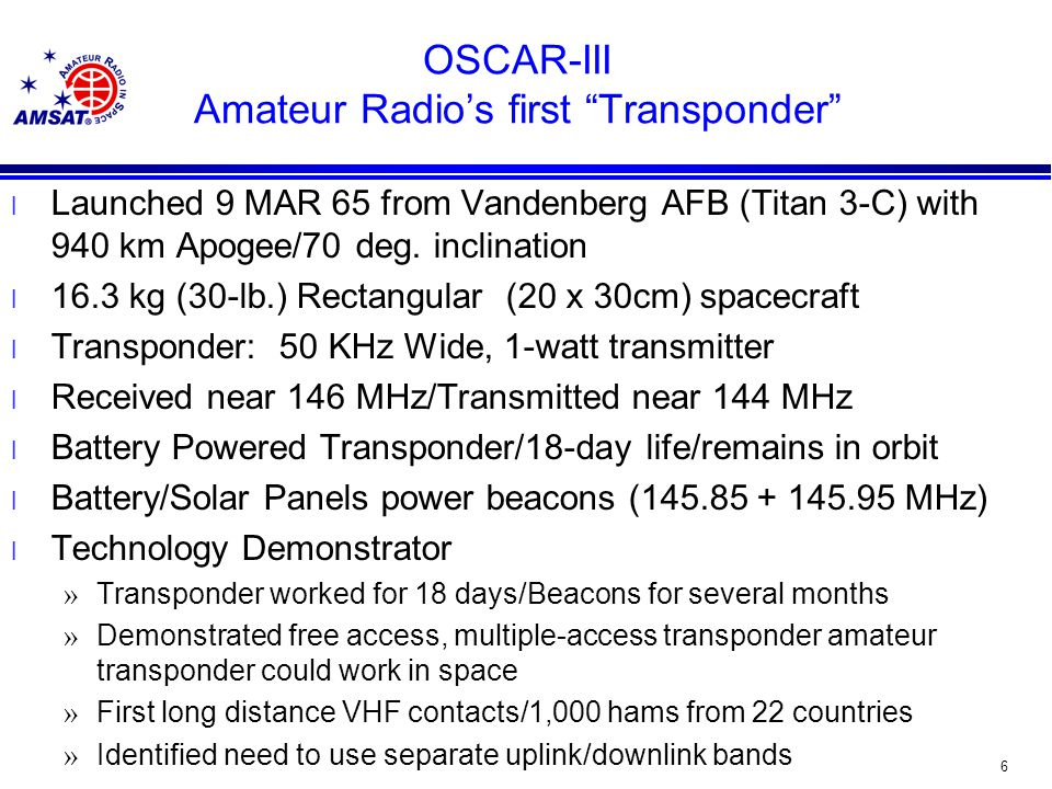 6 OSCAR-III Amateur Radio's first Transponder l Launched 9 MAR 65 from Vandenberg AFB (Titan 3-C) with 940 km Apogee/70 deg.