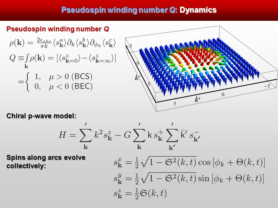 Pseudospin winding number Q: Dynamics Pseudospin winding number Q Chiral p-wave model: Spins along arcs evolve collectively: