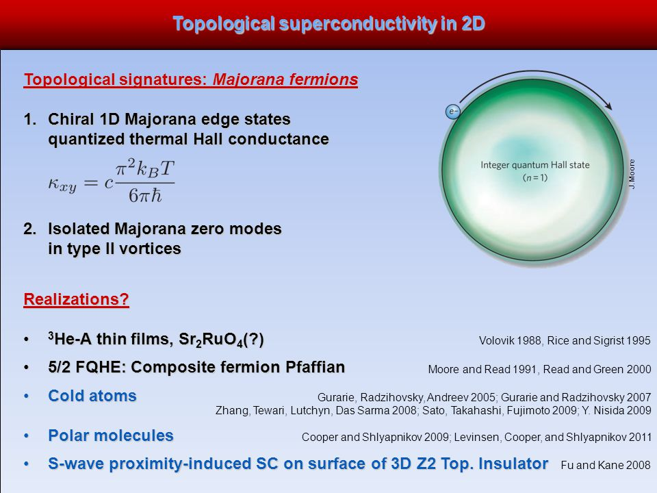 Topological superconductivity in 2D Topological signatures: Majorana fermions 1.Chiral 1D Majorana edge states quantized thermal Hall conductance 2.Isolated Majorana zero modes in type II vortices J.