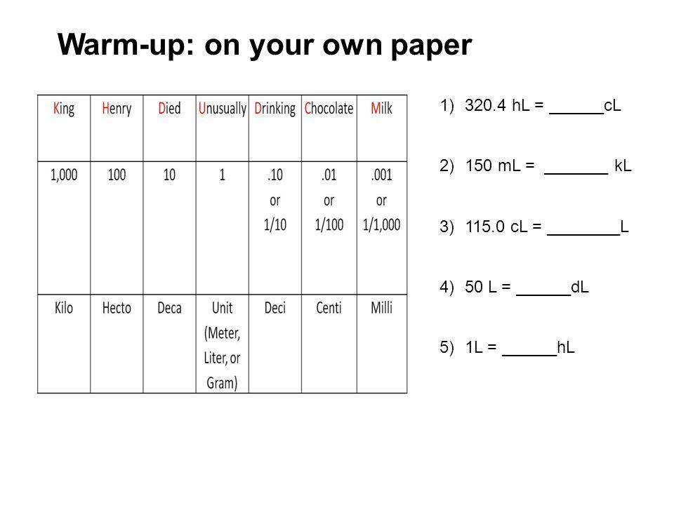1)320.4 hL = ______cL 2)150 mL = _______ kL 3)115.0 cL = ________L 4)50 L = ______dL 5)1L = ______hL Warm-up: on your own paper