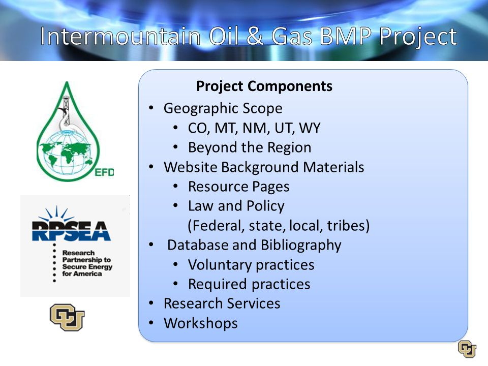 Geographic Scope CO, MT, NM, UT, WY Beyond the Region Website Background Materials Resource Pages Law and Policy (Federal, state, local, tribes) Datab
