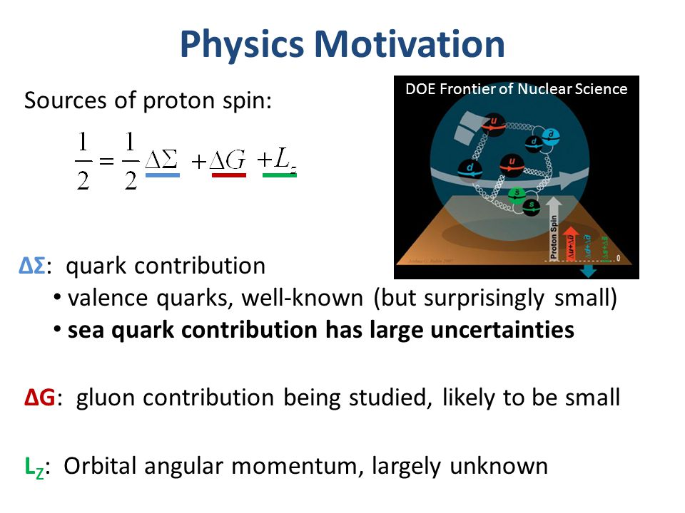 Physics Motivation Sources of proton spin: ΔΣ: quark contribution valence quarks, well-known (but surprisingly small) sea quark contribution has large uncertainties ΔG: gluon contribution being studied, likely to be small DOE Frontier of Nuclear Science L Z : Orbital angular momentum, largely unknown