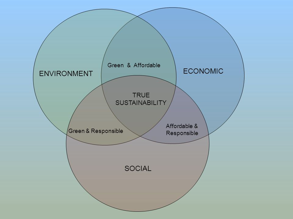 ENVIRONMENT ECONOMIC Green& Affordable SOCIAL Green & Responsible TRUE SUSTAINABILITY Affordable & Responsible