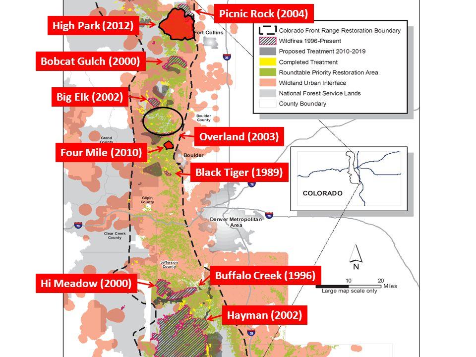 Buffalo Creek (1996) Hi Meadow (2000) Hayman (2002) Black Tiger (1989) Bobcat Gulch (2000) Big Elk (2002) Overland (2003) Four Mile (2010) High Park (2012) Picnic Rock (2004)