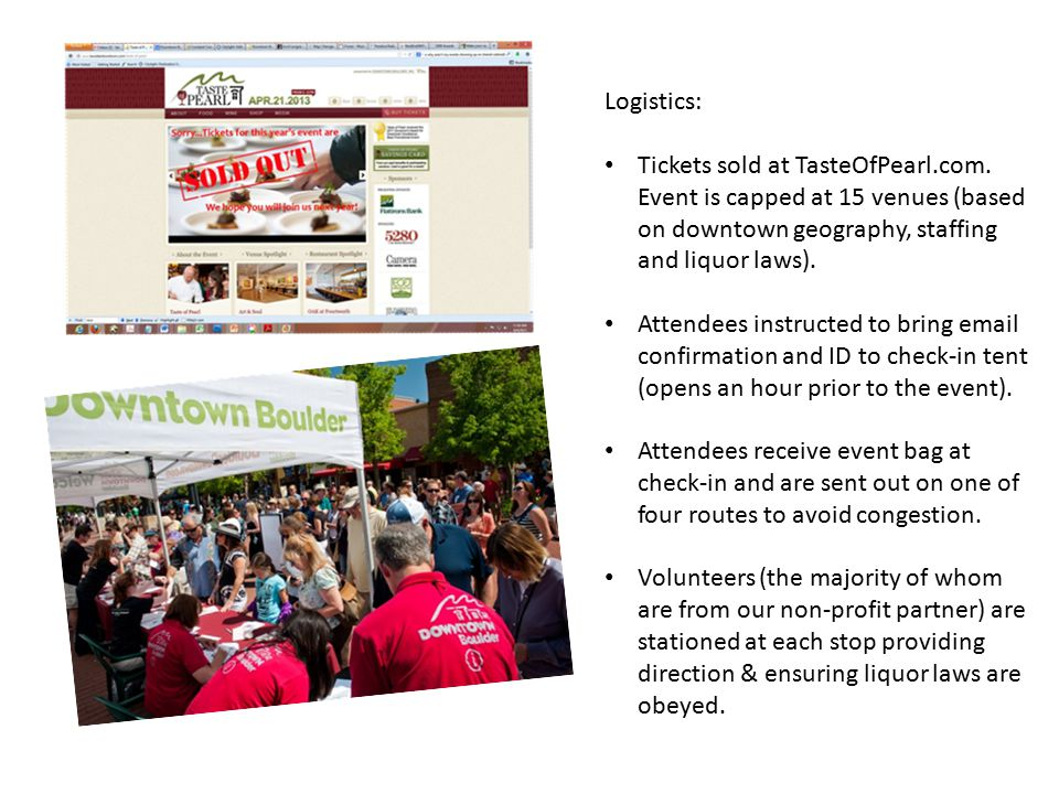 Logistics: Tickets sold at TasteOfPearl.com. Event is capped at 15 venues (based on downtown geography, staffing and liquor laws). Attendees instructe