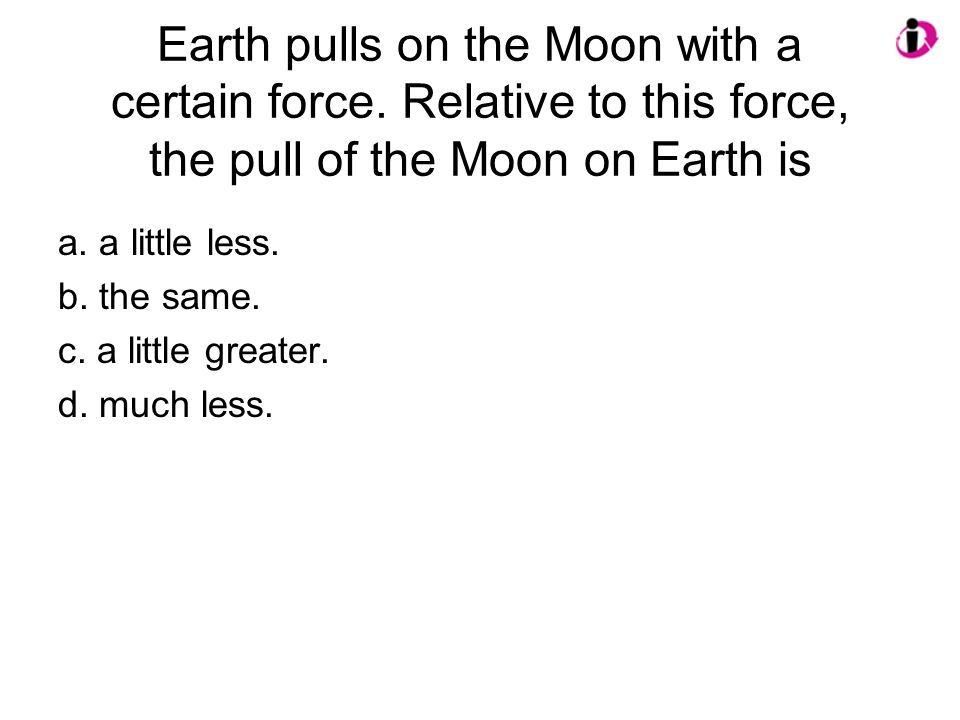 Earth pulls on the Moon with a certain force.