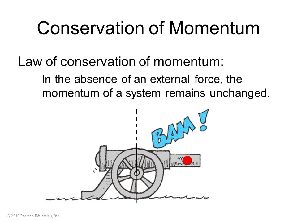 © 2010 Pearson Education, Inc. Conservation of Momentum Law of conservation of momentum: In the absence of an external force, the momentum of a system