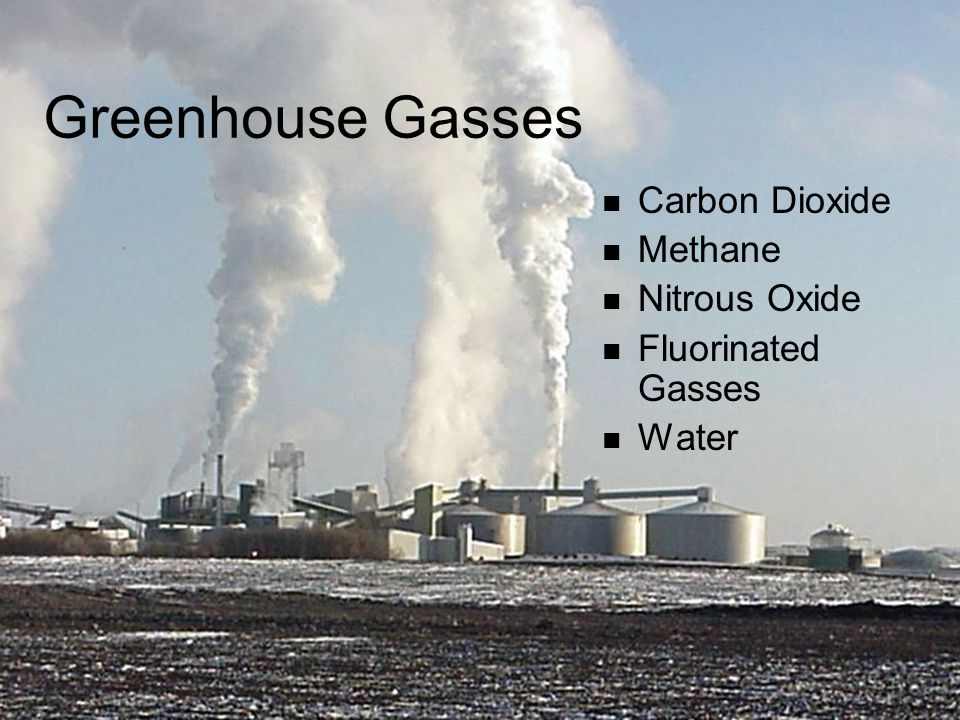 Greenhouse Gasses Carbon Dioxide Methane Nitrous Oxide Fluorinated Gasses Water