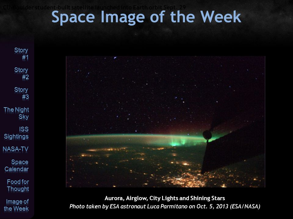 Aurora, Airglow, City Lights and Shining Stars Photo taken by ESA astronaut Luca Parmitano on Oct.