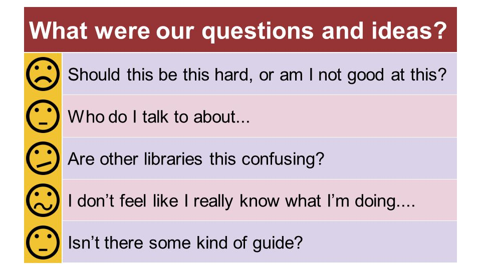 What were our questions and ideas? Are other libraries this confusing? Who do I talk to about... Isn't there some kind of guide? Should this be this h