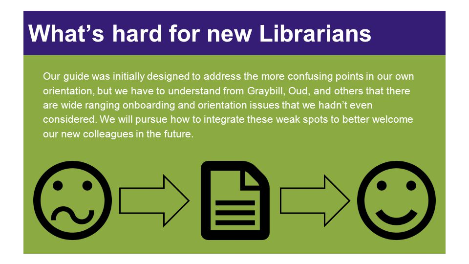 What's hard for new Librarians When we were writing our guide, we wanted it to address the concerns that Oud identified, while also incorporating the