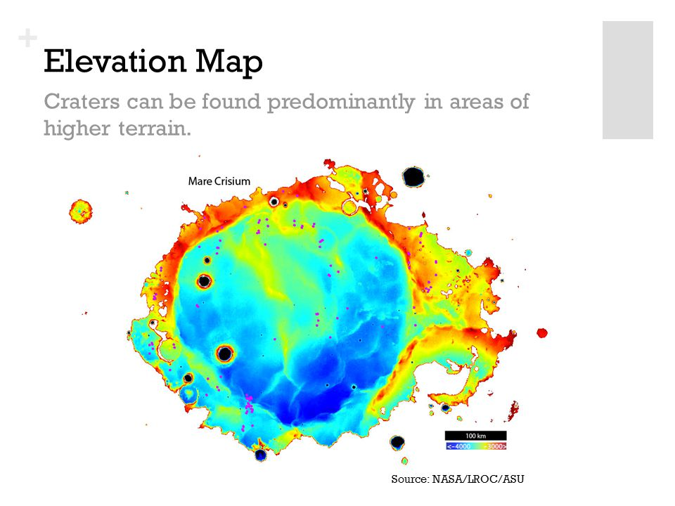 + Elevation Map Craters can be found predominantly in areas of higher terrain.
