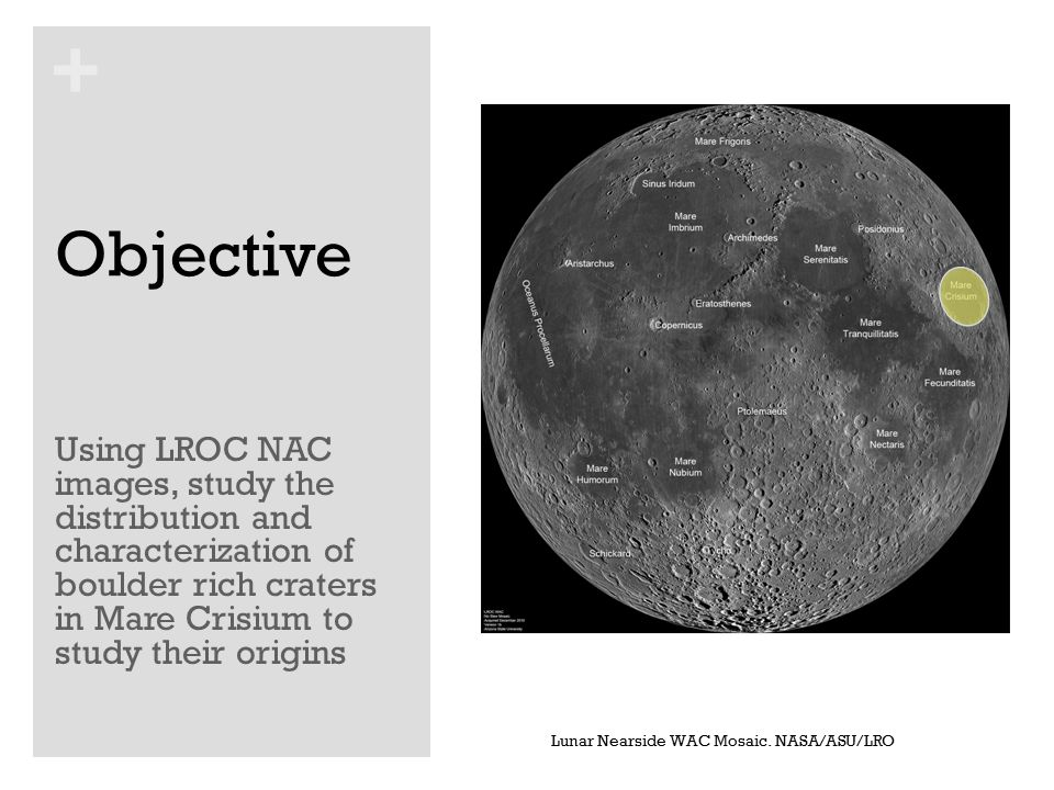 + Background Younger mare flows have covered much of the older terrain on the lunar nearside leaving only a small number of aged craters visible in these regions.