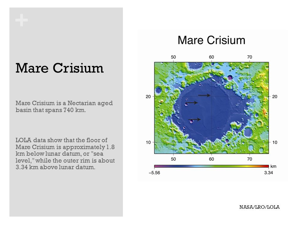 + Mare Crisium Mare Crisium is a Nectarian aged basin that spans 740 km.