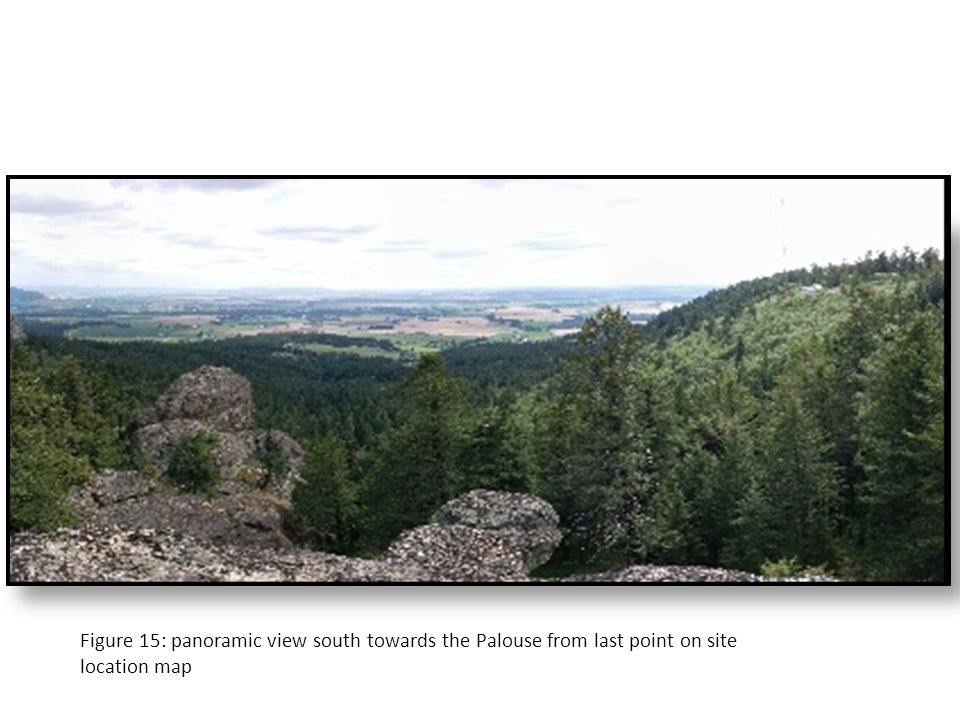 Figure 15: panoramic view south towards the Palouse from last point on site location map