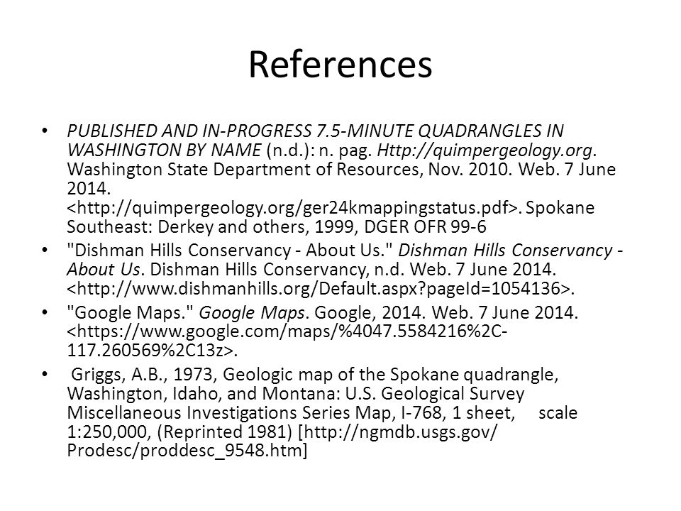 References PUBLISHED AND IN-PROGRESS 7.5-MINUTE QUADRANGLES IN WASHINGTON BY NAME (n.d.): n.