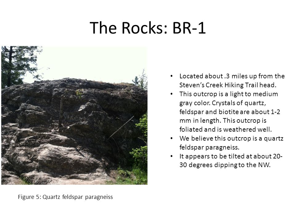The Rocks: BR-1 Located about.3 miles up from the Steven's Creek Hiking Trail head.