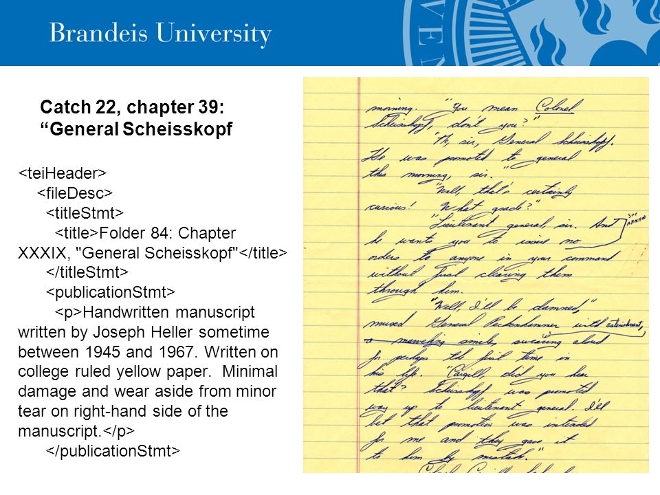 """Catch 22, chapter 39: """"General Scheisskopf Folder 84: Chapter XXXIX,"""