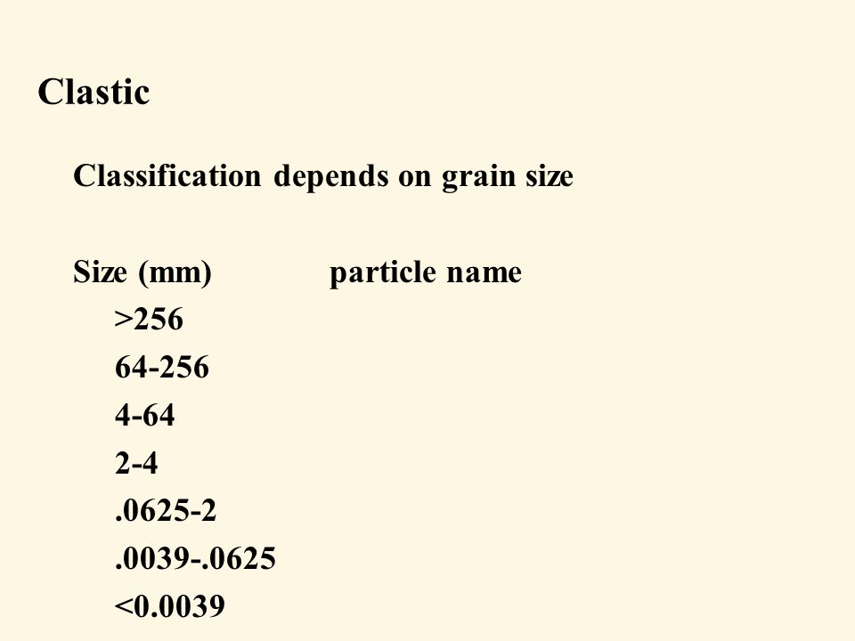 Clastic Classification depends on grain size Size (mm)particle name >256 64-256 4-64 2-4.0625-2.0039-.0625 <0.0039