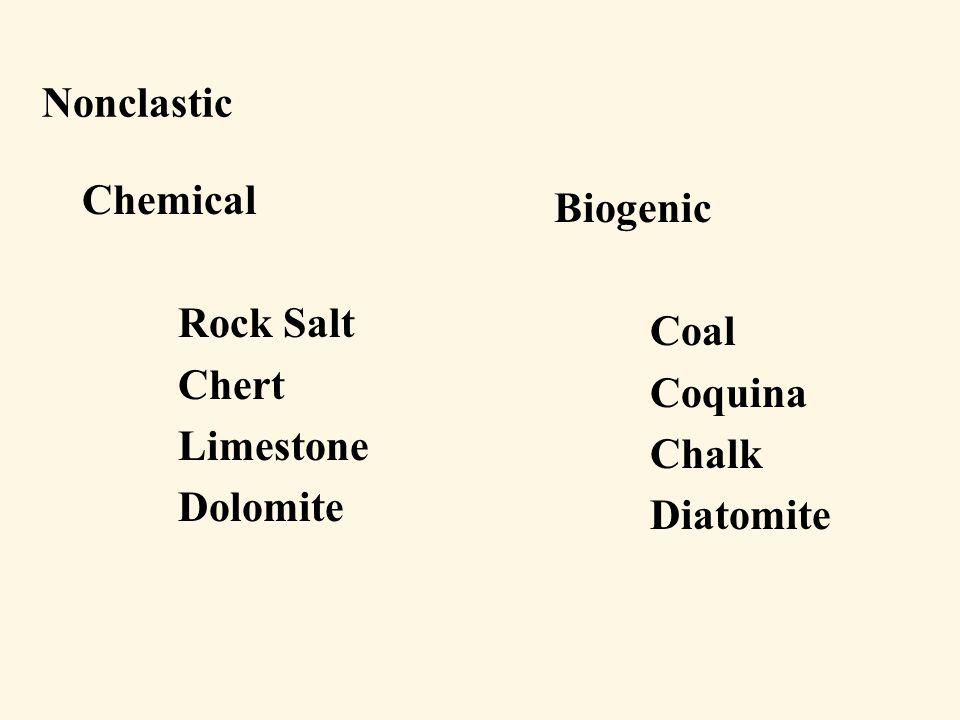 Nonclastic Chemical Rock Salt Chert Limestone Dolomite Biogenic Coal Coquina Chalk Diatomite