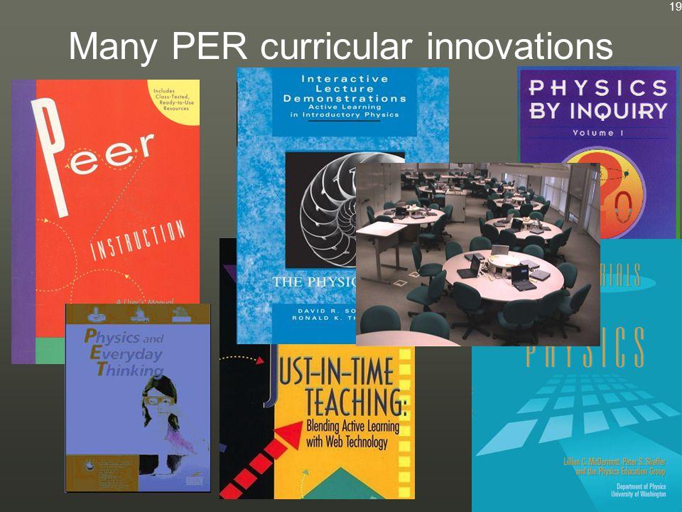 Many PER curricular innovations 19
