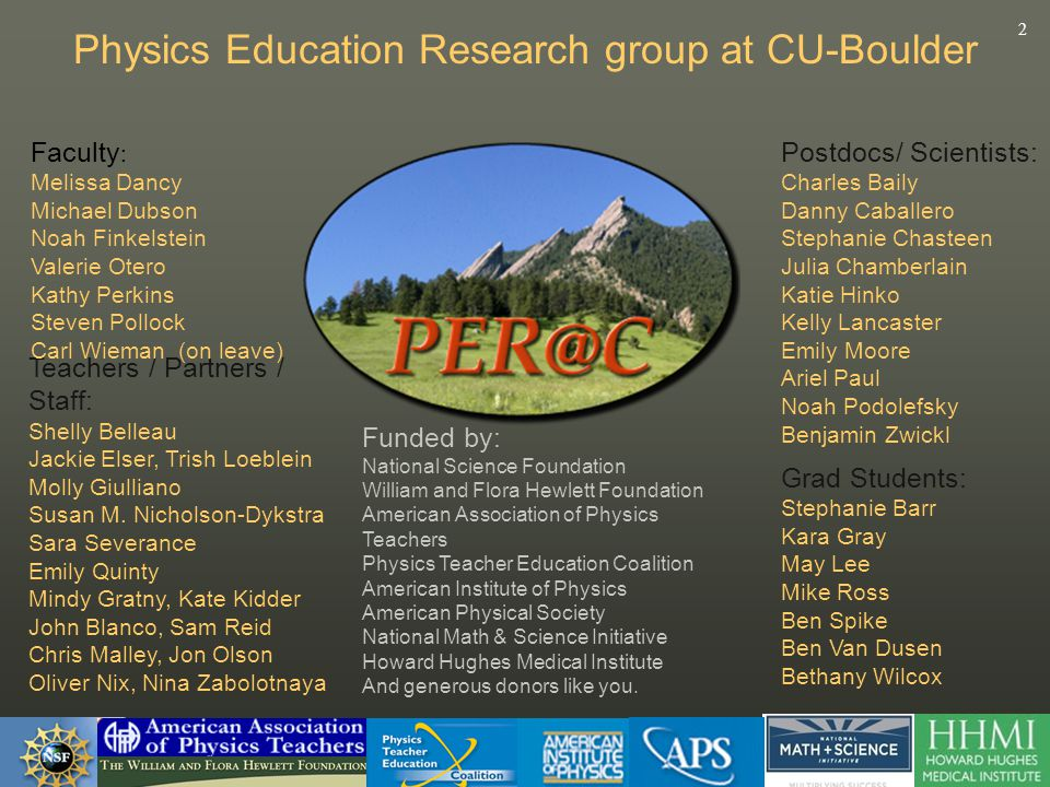 2 Physics Education Research group at CU-Boulder Funded by: National Science Foundation William and Flora Hewlett Foundation American Association of Physics Teachers Physics Teacher Education Coalition American Institute of Physics American Physical Society National Math & Science Initiative Howard Hughes Medical Institute And generous donors like you.