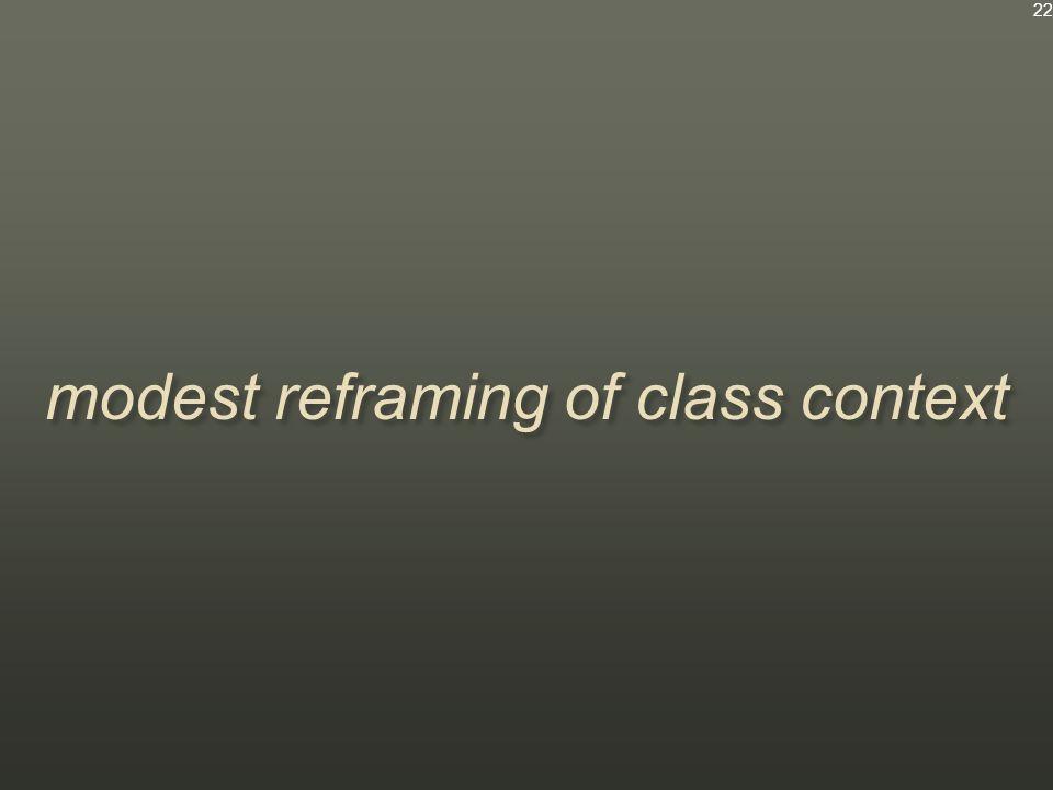 modest reframing of class context 22