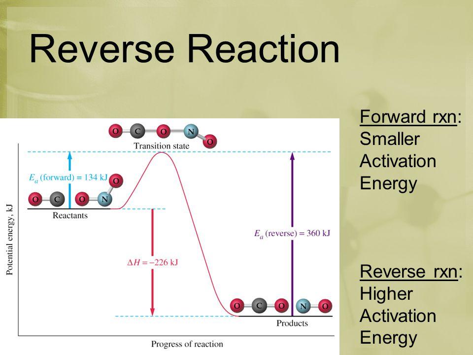 Reverse Reaction Forward rxn: Smaller Activation Energy Reverse rxn: Higher Activation Energy