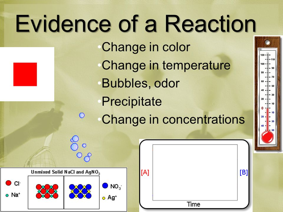 Evidence of a Reaction Change in color Change in temperature Bubbles, odor Precipitate Change in concentrations