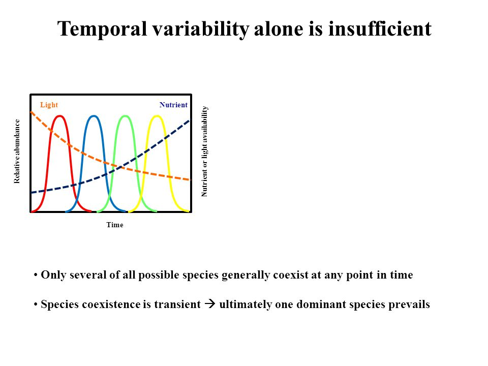 Temporal variability alone is insufficient Time Relative abundance Nutrient or light availability NutrientLight Only several of all possible species generally coexist at any point in time Species coexistence is transient  ultimately one dominant species prevails