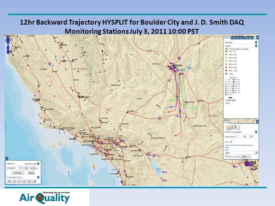 12hr Backward Trajectory HYSPLIT for Boulder City and J.