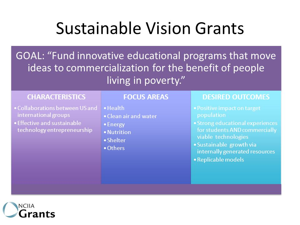 """Sustainable Vision Grants GOAL: """"Fund innovative educational programs that move ideas to commercialization for the benefit of people living in poverty"""