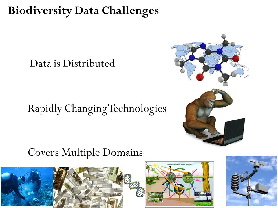 Biodiversity Data Challenges Data is Distributed Rapidly Changing Technologies Covers Multiple Domains