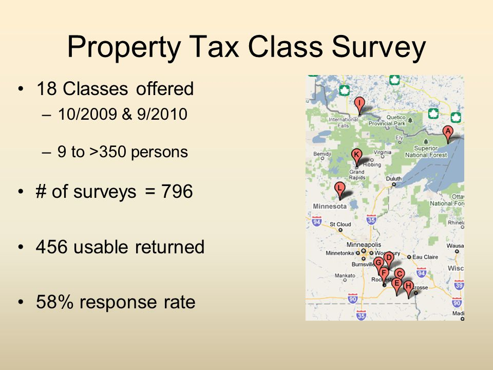 Property Tax Class Survey 18 Classes offered –10/2009 & 9/2010 –9 to >350 persons # of surveys = 796 456 usable returned 58% response rate