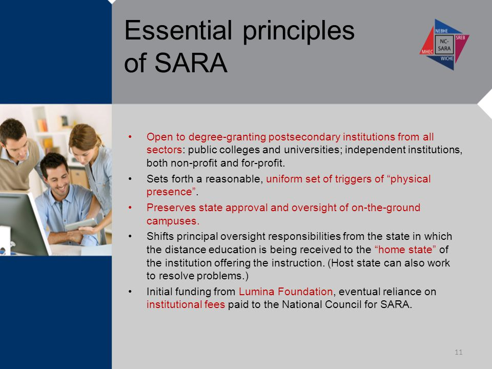 Essential principles of SARA Open to degree-granting postsecondary institutions from all sectors: public colleges and universities; independent institutions, both non-profit and for-profit.