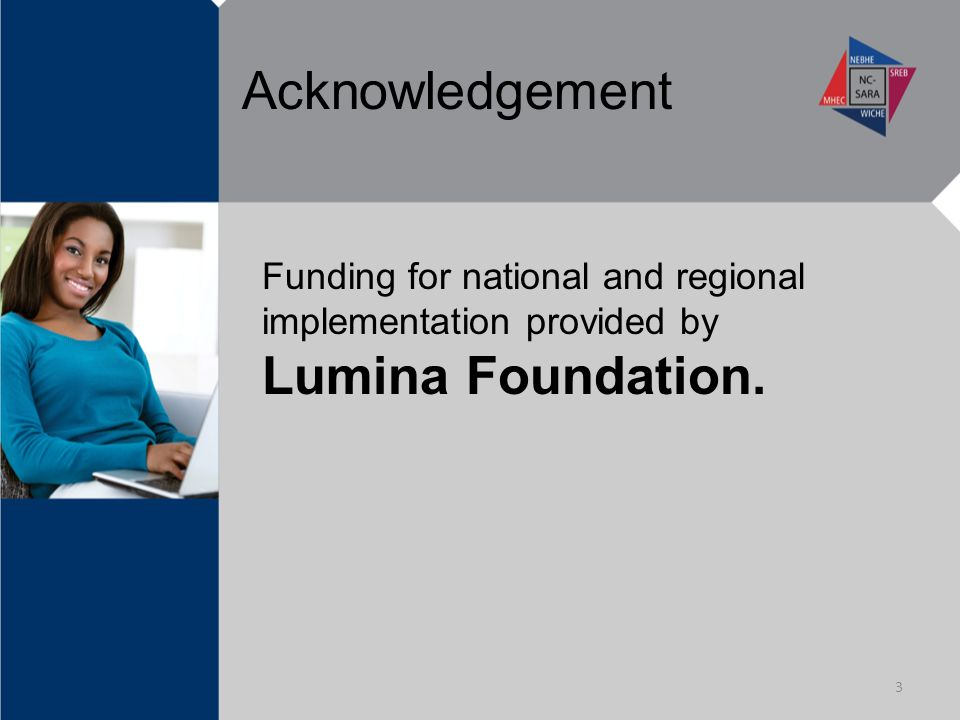Acknowledgement Funding for national and regional implementation provided by Lumina Foundation. 3