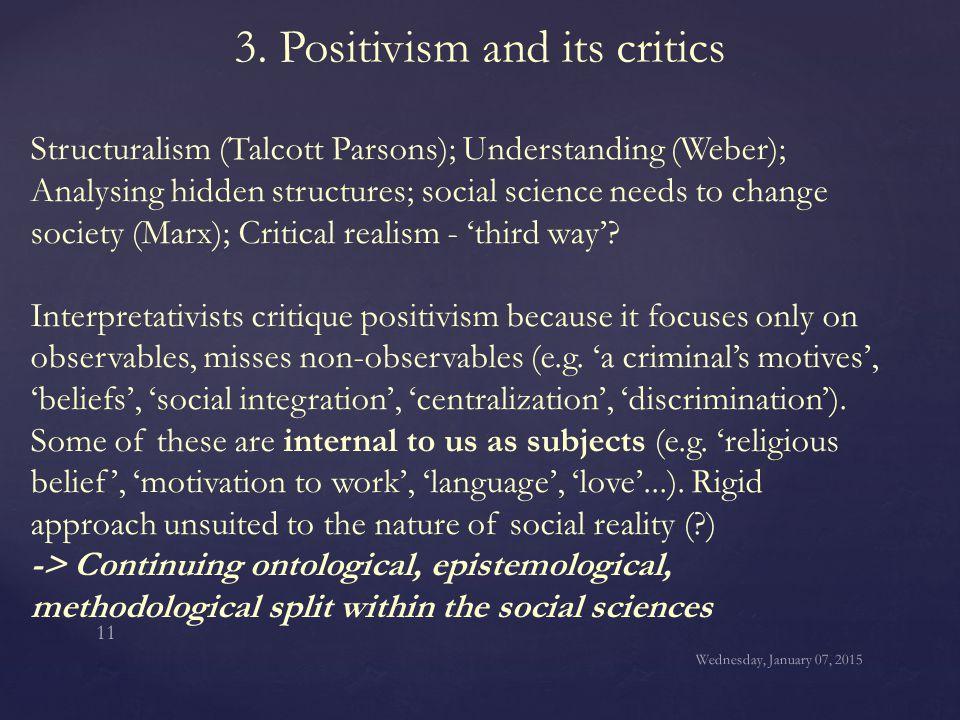 3. Positivism and its critics Structuralism (Talcott Parsons); Understanding (Weber); Analysing hidden structures; social science needs to change soci