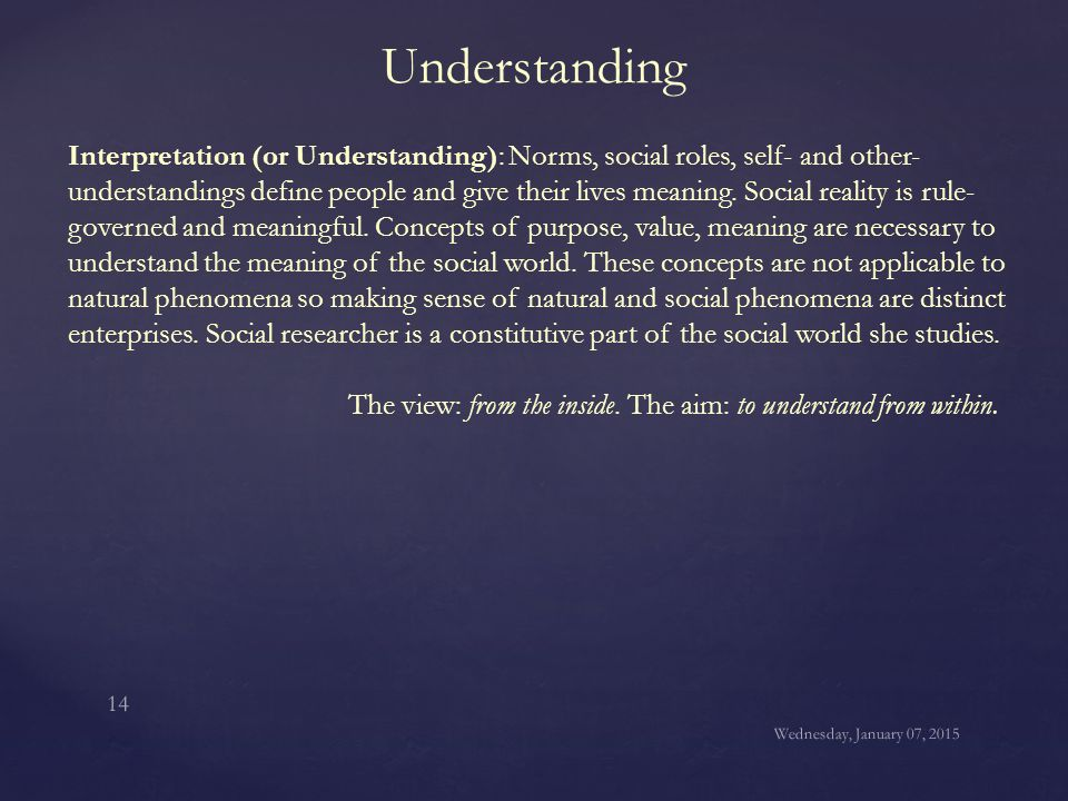 Understanding Interpretation (or Understanding): Norms, social roles, self- and other- understandings define people and give their lives meaning. Soci