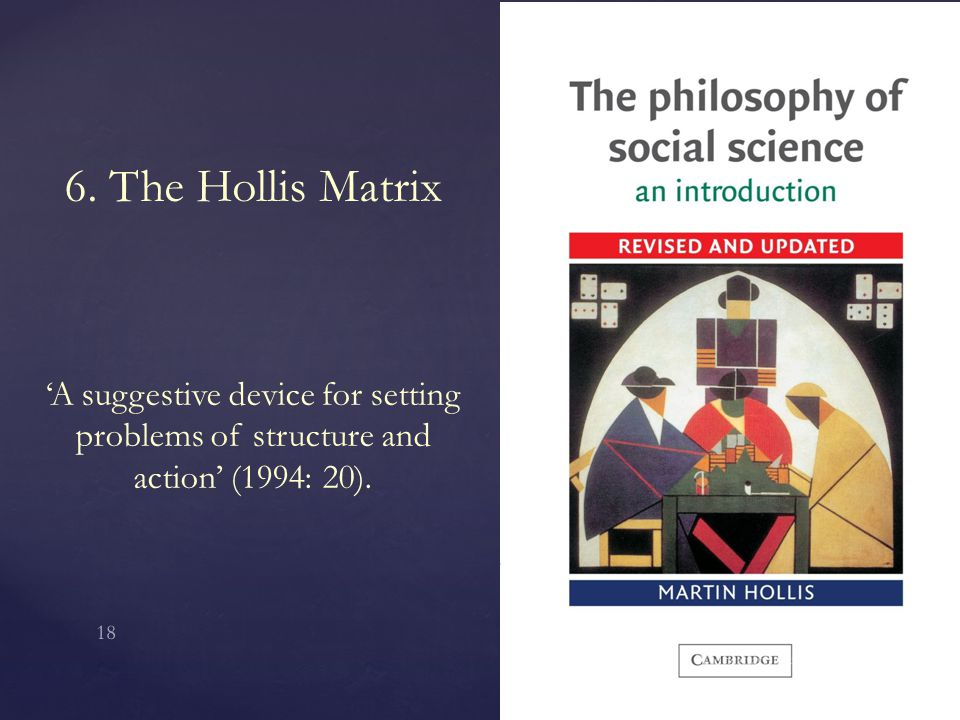 6. The Hollis Matrix 'A suggestive device for setting problems of structure and action' (1994: 20). Wednesday, January 07, 2015 18