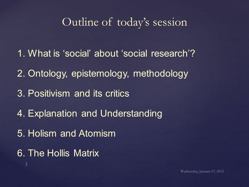 1. What is 'social' about 'social research'? 2. Ontology, epistemology, methodology 3. Positivism and its critics 4. Explanation and Understanding 5.
