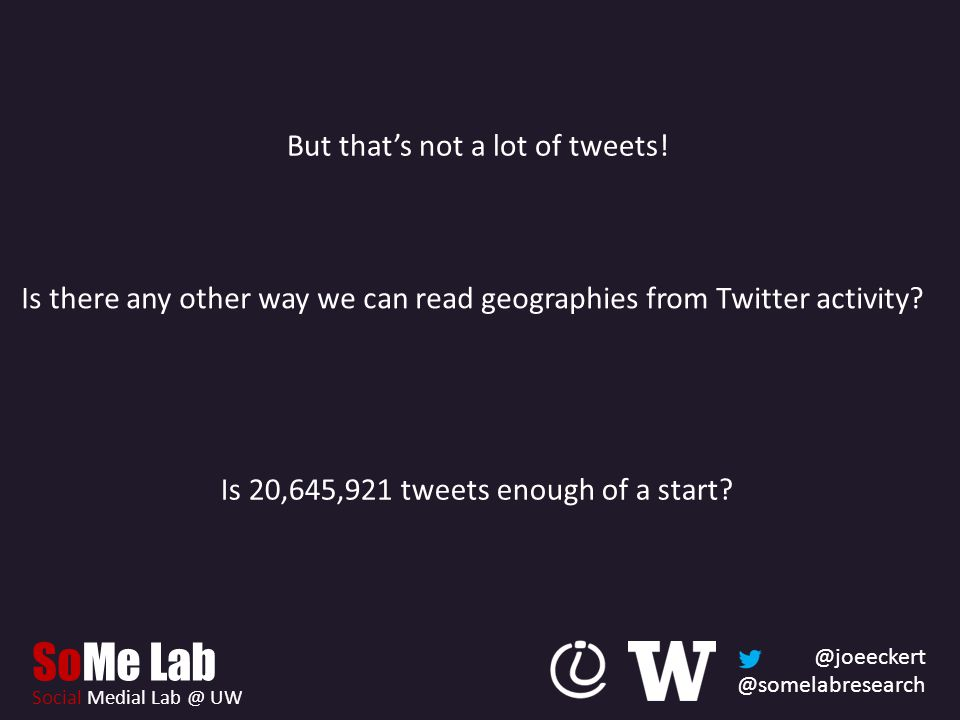 @joeeckert @somelabresearch SoMe Lab Social Medial Lab @ UW But that's not a lot of tweets.