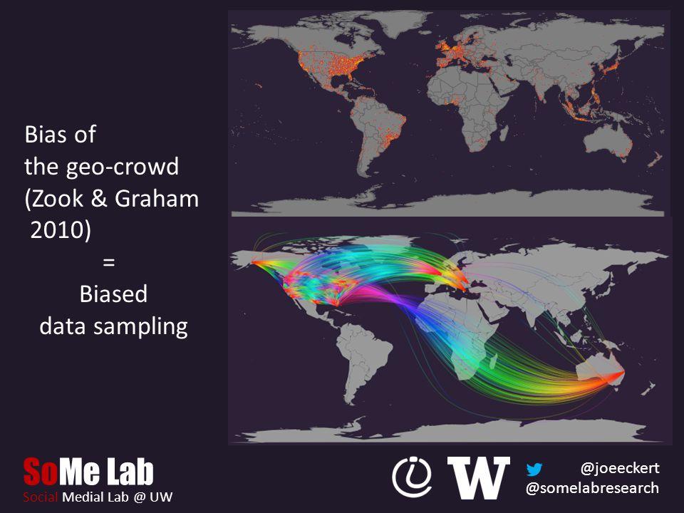 @joeeckert @somelabresearch SoMe Lab Social Medial Lab @ UW Bias of the geo-crowd (Zook & Graham 2010) = Biased data sampling
