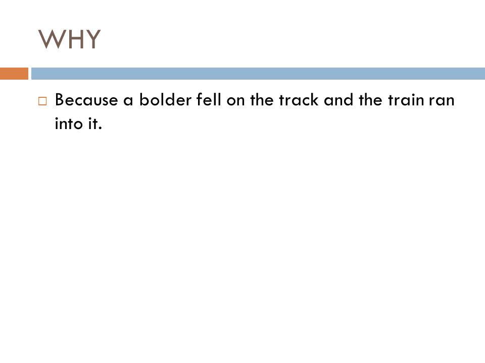 WHY  Because a bolder fell on the track and the train ran into it.