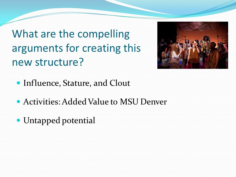 What are the compelling arguments for creating this new structure? Influence, Stature, and Clout Untapped potential Activities: Added Value to MSU Den