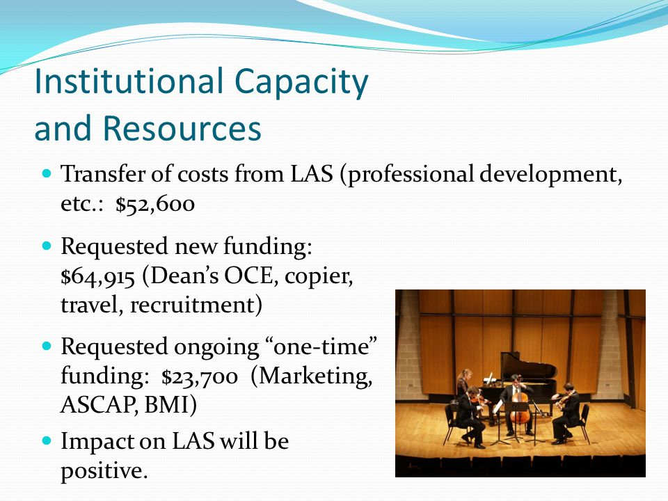 Institutional Capacity and Resources Transfer of costs from LAS (professional development, etc.: $52,600 Impact on LAS will be positive.