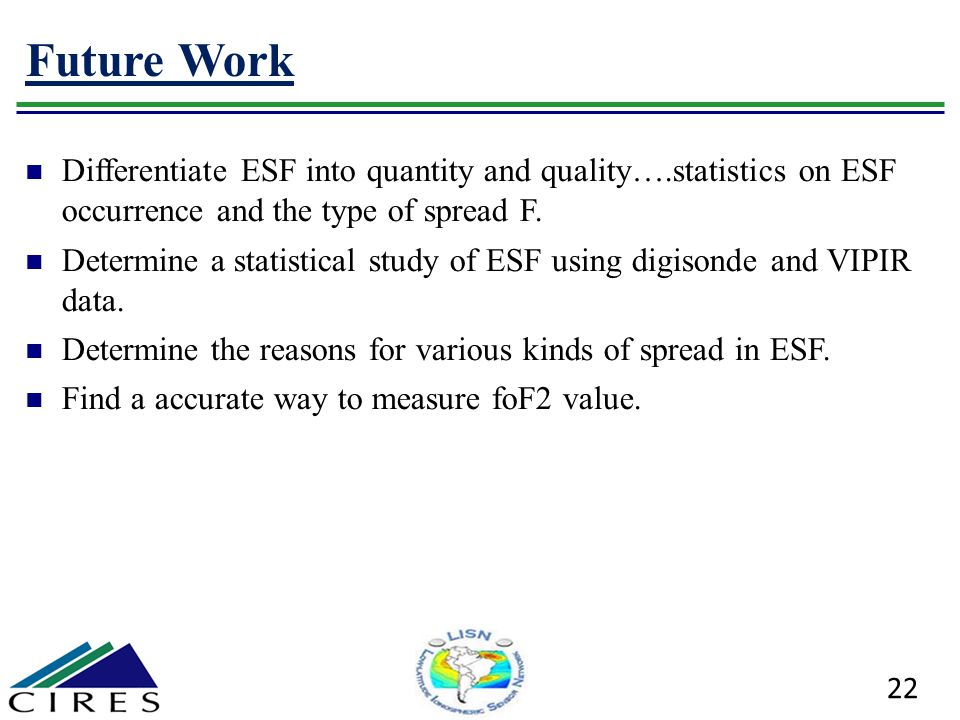 Future Work Differentiate ESF into quantity and quality….statistics on ESF occurrence and the type of spread F. Determine a statistical study of ESF u