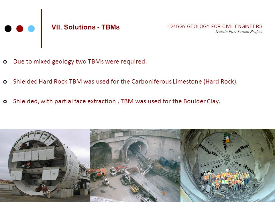 VII. Solutions - TBMs H24GGY GEOLOGY FOR CIVIL ENGINEERS Dublin Port Tunnel Project Due to mixed geology two TBMs were required. Shielded Hard Rock TB