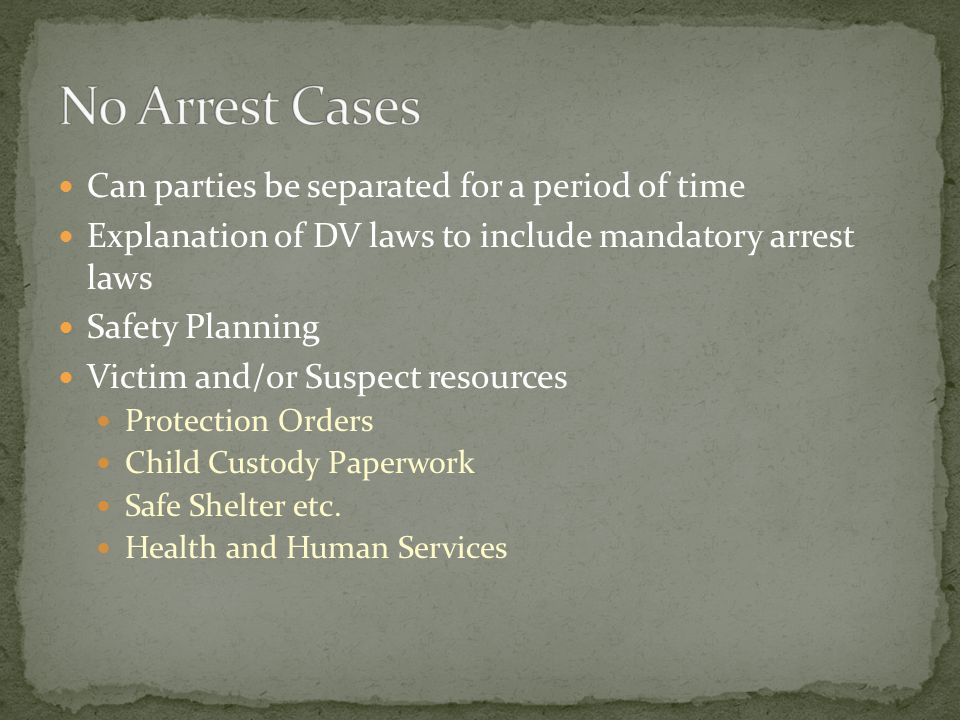 Can parties be separated for a period of time Explanation of DV laws to include mandatory arrest laws Safety Planning Victim and/or Suspect resources Protection Orders Child Custody Paperwork Safe Shelter etc.